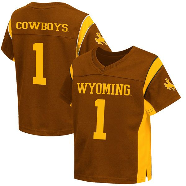 #1 Wyoming Cowboys Colosseum Toddler Football Jersey - Brown - $31.99