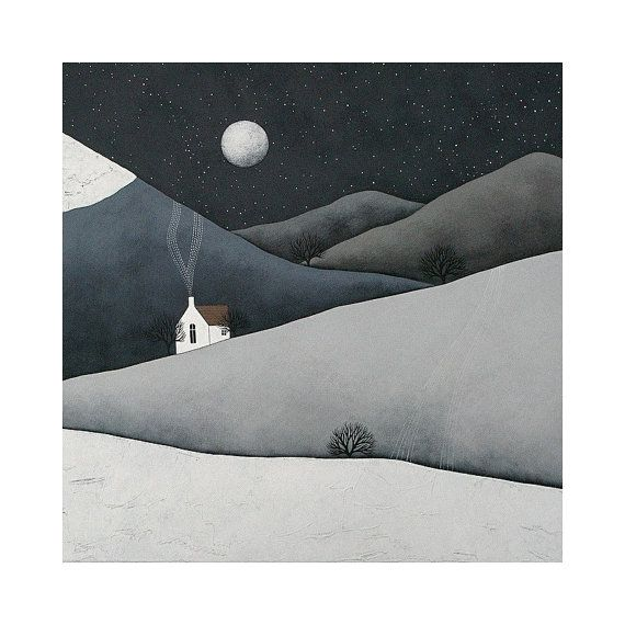 PRE-ORDER - The Quiet Of The Night - Archival 8x8 Fine Art Print - Winter Landscape Painting - Nursery Art - by Natasha Newton on Etsy, $26.32 AUD