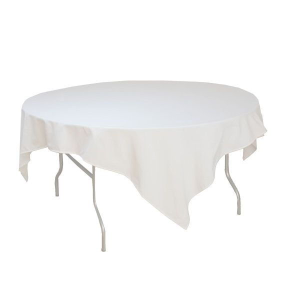 White Table Overlays 72 x 72 inches, Table Overlays for 5 ft Round Tables, Square White Tablecloths | Wholesale Table Linens, Wedding Decor