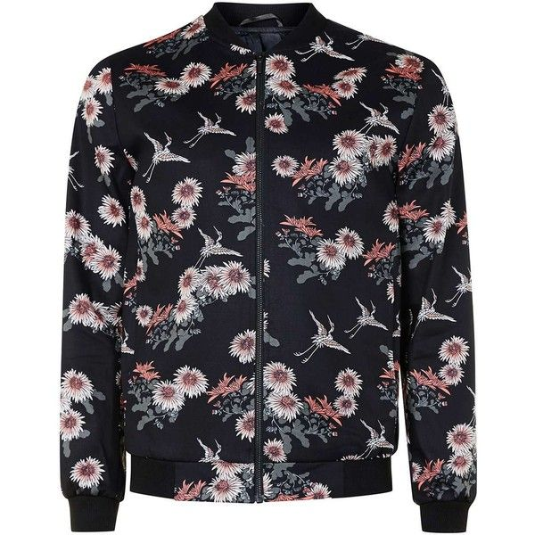 TOPMAN Black Floral Print Smart Bomber Jacket ($99) ❤ liked on Polyvore featuring men's fashion, men's clothing, men's outerwear, men's jackets, blue, mens cotton bomber jacket, mens cotton jacket, mens blue bomber jacket, mens floral jacket and mens floral bomber jacket