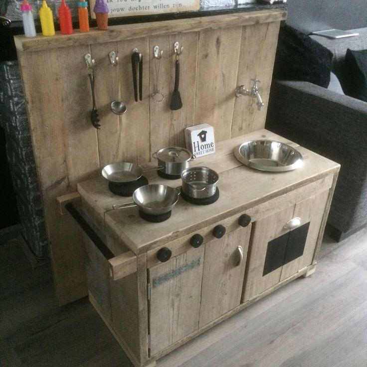 Steigerhouten kinderkeuken - Speelgoed keukentje  Pinterest