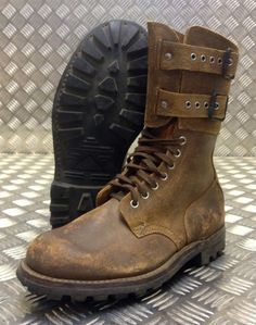 Genuine French Foreign Legion Brown Leather / Suede Army Boots - Size 42 - NEW