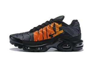 b1670cff775075 Nike Air Max Plus TN Striped Black Total Orange Anthracite Tour Yellow  AT0040 002 Mens Running Shoes