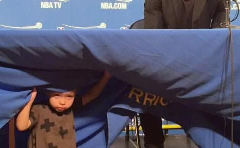 "Steph: ""Riley, what are you doing?""  Riley: ""Searching for LeBron's hairline dad!"""
