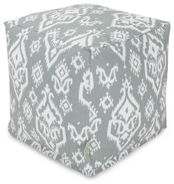 Gray Raja Small Cube - midcentury - Ottomans And Cubes - Majestic Home Goods