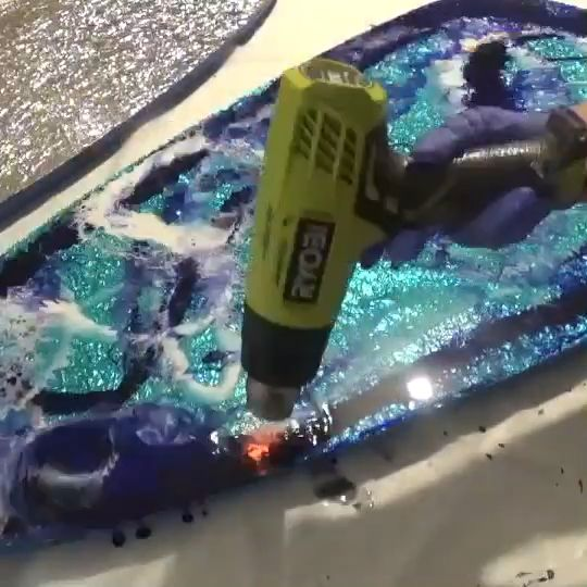 Save time on creating your resin table by using foil as a base.
