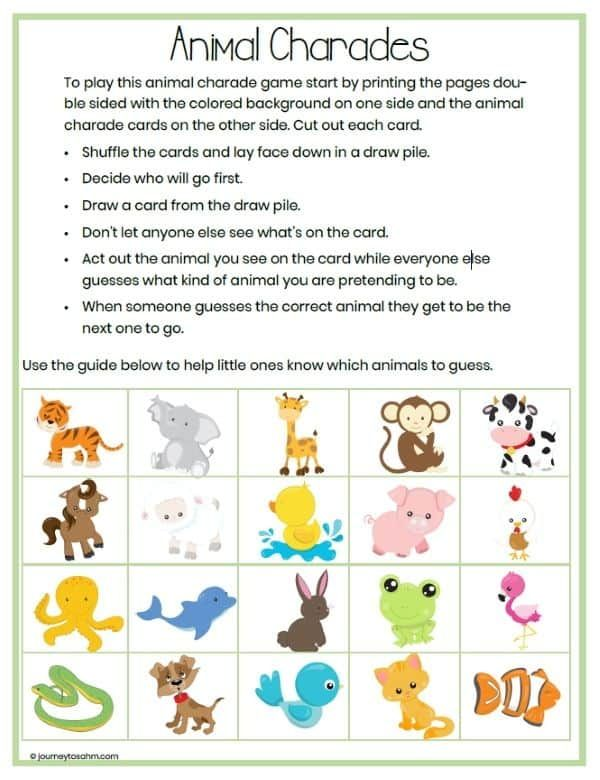 Animal Charades for Kids with a Free Printable Download in ...