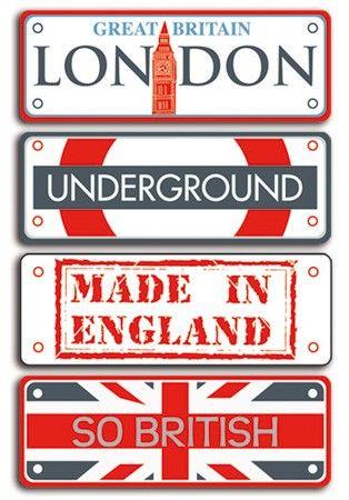 Plaques en métal peint - Londres