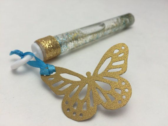 Cinderella Bubble Wand with Blue and Gold Glitter Bubbles: 6+ Cinderella Party Favors/ Butterfly Party Favors, Cinderella Party Supplies