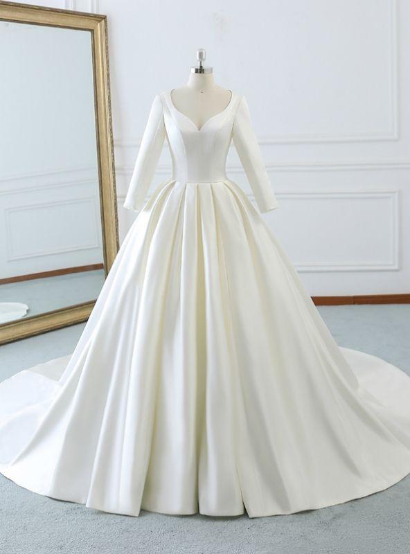 Ivory White Satin Sweetheart Long Sleeve Wedding Dress With Train Wedding Dresses Satin Wedding Dress Long Sleeve Wedding Dresses Unique