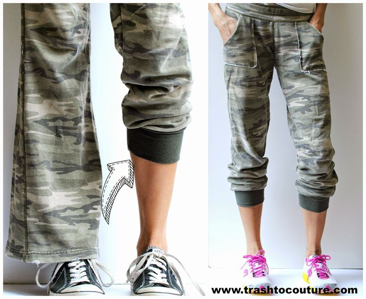 DIY Refashioned Track Pants  by Trash To Couture