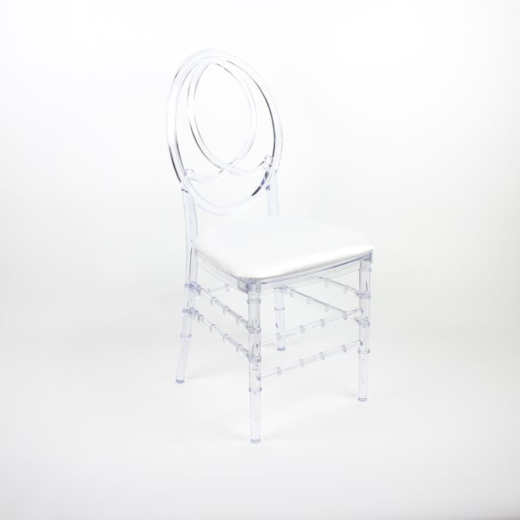 Clear Infinity Chair with Satin White Seat Pad