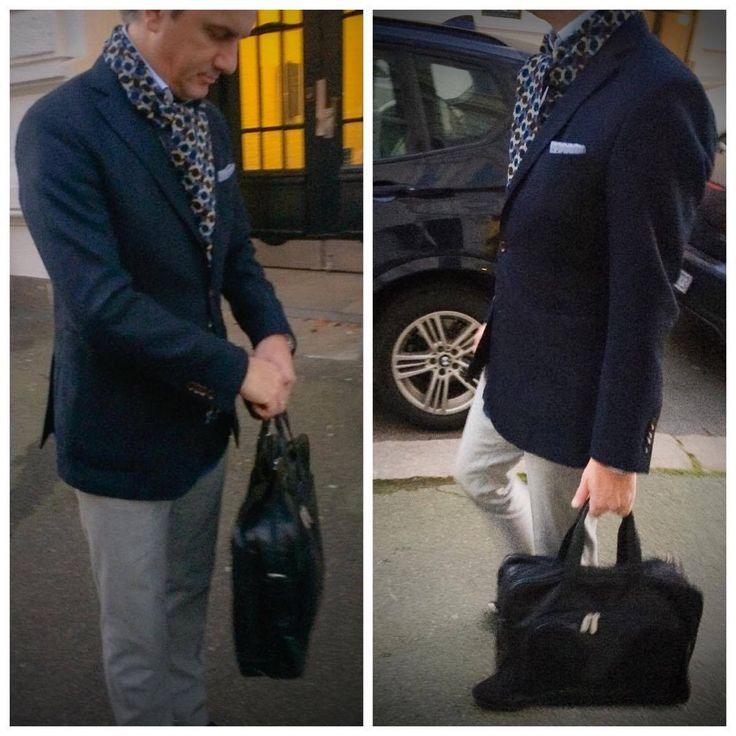 Blue blazer and grey wool pants, classic and elegant combination.