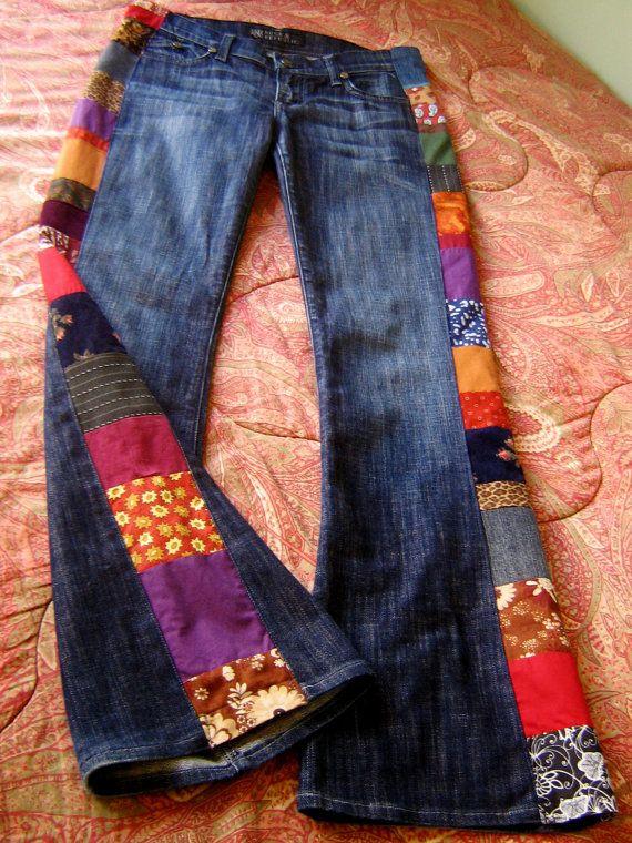 PATCHWORK JEANS hecho a mano Hippie pantalones Rock República n colada oscura