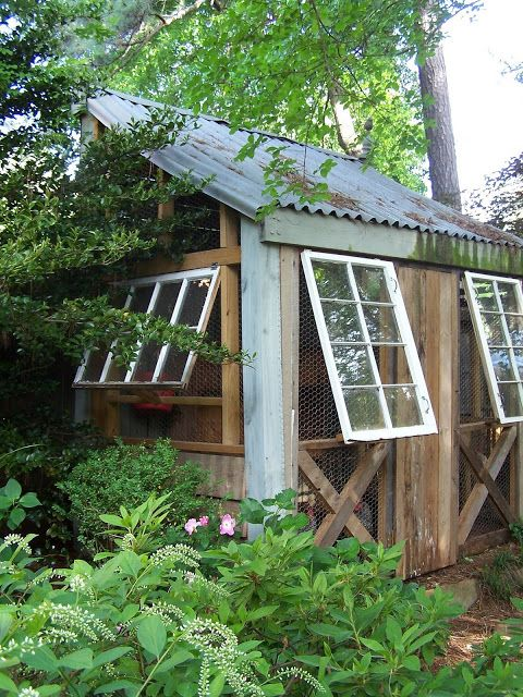 chicken coop or it could be a potting shed made mostly from recycled materials