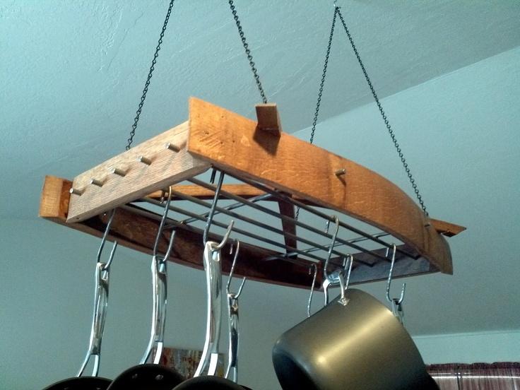 30 best images about pot racks on pinterest pot racks for Reclaimed wood pot rack