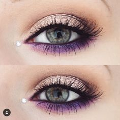 Purple liner for pop of colour.
