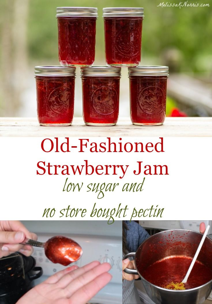 Easy strawberry jam recipe without store bought pectin and low sugar!