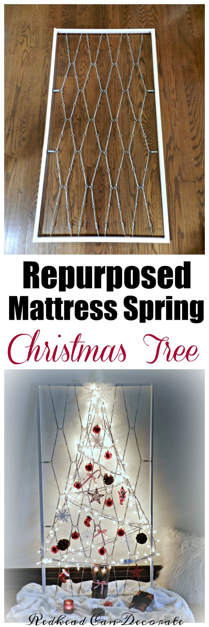 Hometalk diy christmas window decoration - Crib Mattress Spring Christmas Tree