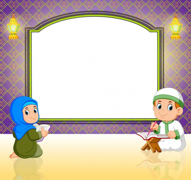 Two Children Are Reading Al Quran In Front Of The Blank