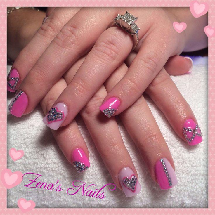 Pretty pink acrylic nails with diamanté detail