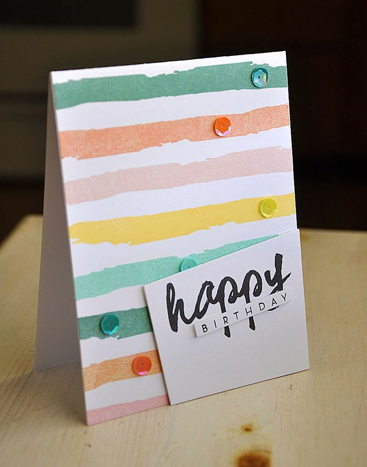 Watercolor Stripe Birthday Card by Maile Belles for Papertrey Ink (March 2014)