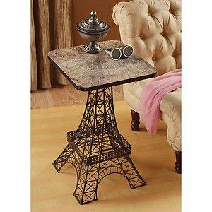"26"" City of Light Paris Eiffel Tower Decorative Metal Lattice Aged Finish Table"