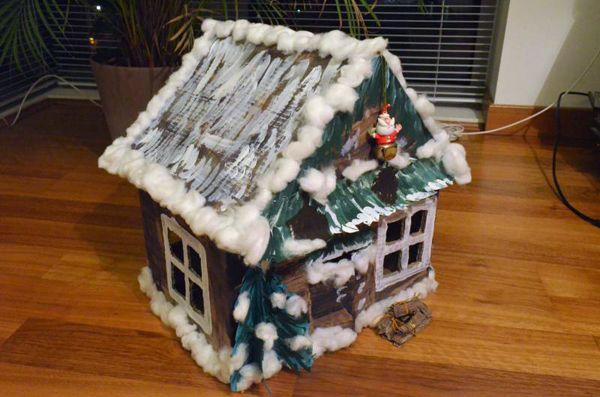 Новогодний домик из коробки - Рождественские и Новогодние поделки своими руками