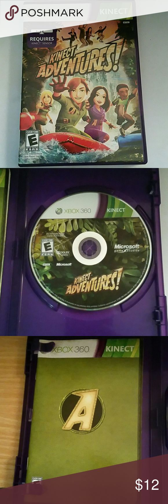 Xbox 360 Kinect Adventures Xbox 360 Kinect Adventures. Used but very well taken care of. Includes case, game and game manual. I have other games available, check out my closet.   Let me know if you have any questions. Happy Poshing!! Other