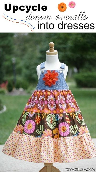 Upcycle Denim Overalls Into Dresses. This step-by-step tutorials comes with a sizing guide so you can make your own girls dress! | DIY Crush