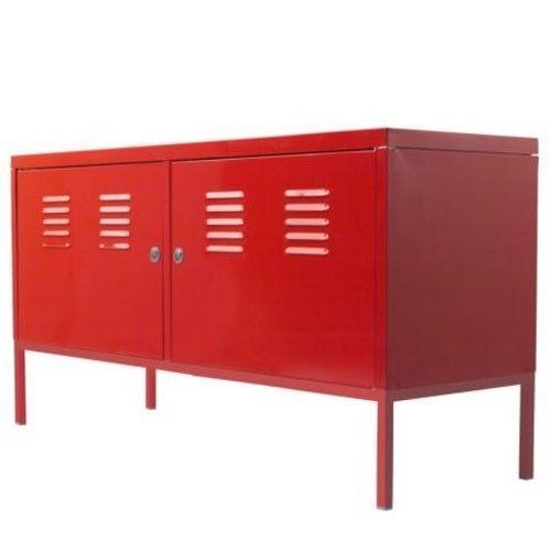 Red Cabinet Lockable Sideboard Buffet Sofa Table Metal Multi Use Ikea PS