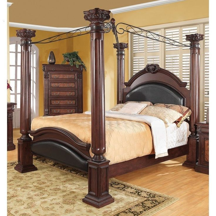 Iron Canopy Bed Frame Queen with Headboard Four Poster 4