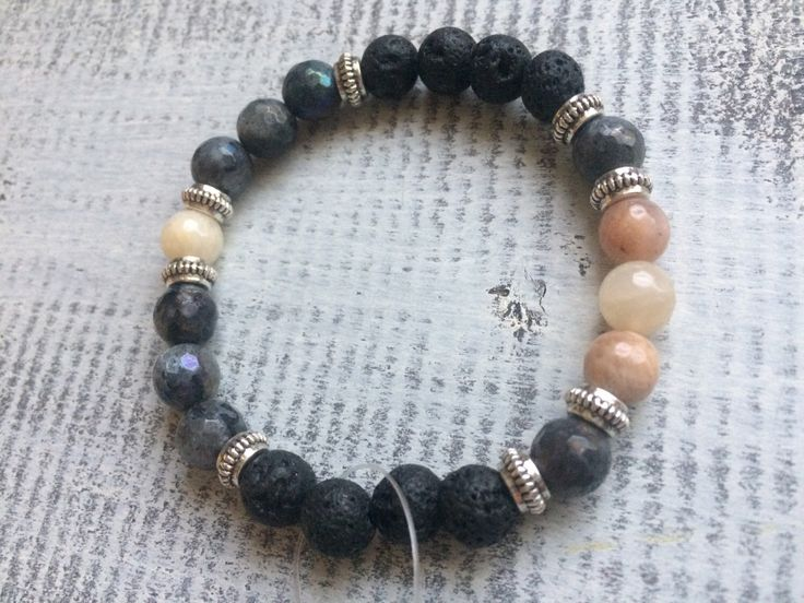 Faceted Moonstone, labradorite and lava stone diffuser bracelet by BarefootCreationsDV on Etsy https://www.etsy.com/ca/listing/491922897/faceted-moonstone-labradorite-and-lava