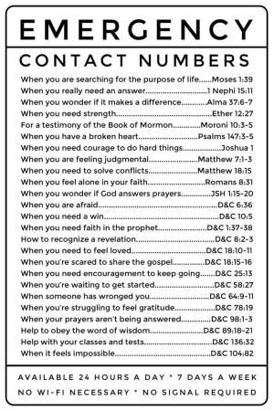 Emergency Contact Numbers: LDS scripture references. Great for Young Women and Young Men, easy to photocopy. by jill