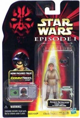 STAR WARS : Costumes and Toys : Star Wars Action Figure - Anakin Skywalker Naboo Pilot with Flight Simulator - Episode 1 - with CommTech Chip