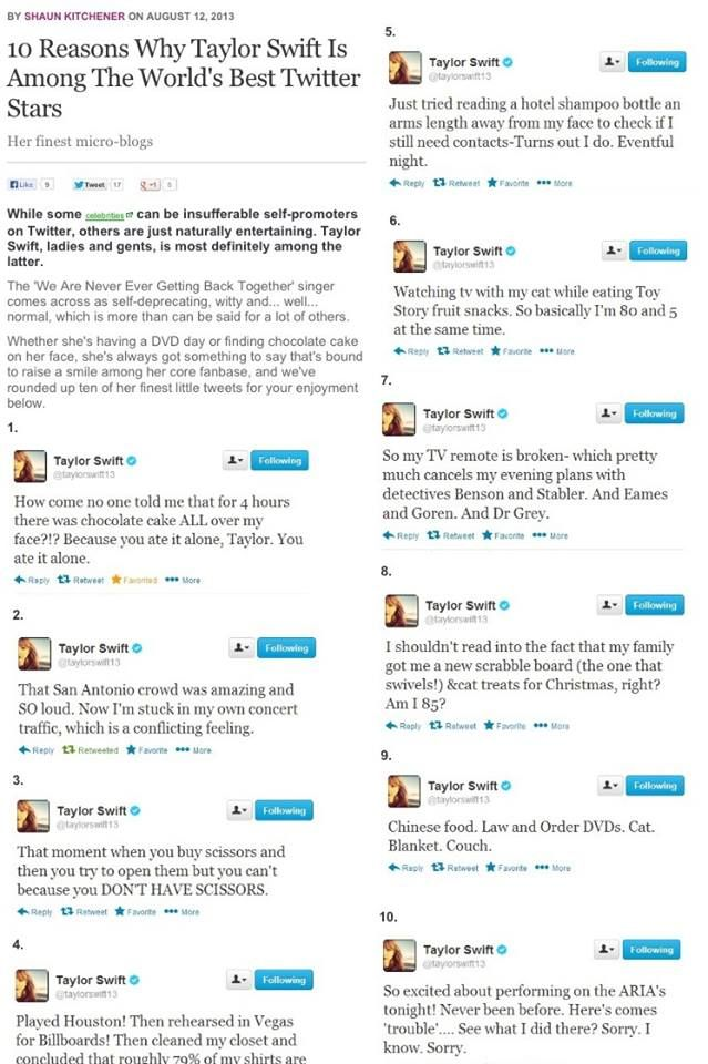 Taylor's tweets are the best!