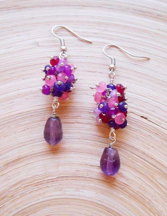 Rosa gemstone cluster dangle drop earrings pink purple wire