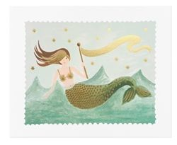 Rifle Paper Co. Mermaid Art Print with gold foil detail