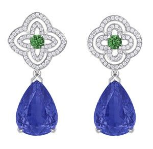 Orangerie des Tuileries earring from the Escale á Paris collection of jewels by Louis Vuitton featuring Tanzanites, green tsavorites and diamonds.