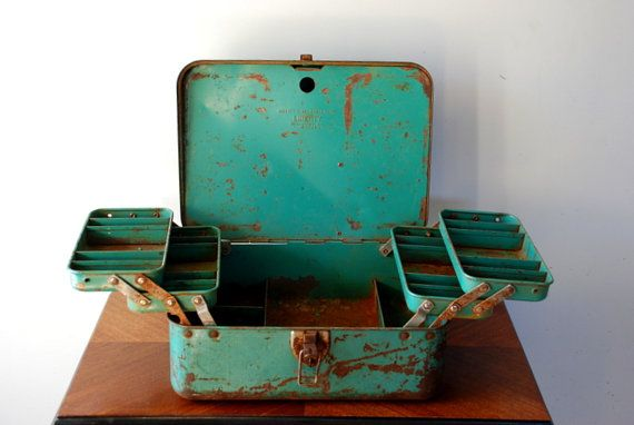 Fabulous vintage tackle box from Etsy.com... Fishing in style.