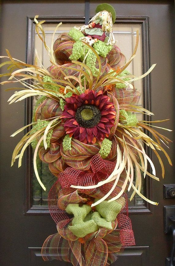 Fall Wreaths, Harvest Decor, Fall Swag, Deco Mesh Swag, Thanksgiving Wreath, Fall Door Wreath, Scarecrow Wreaths on Etsy, $149.00