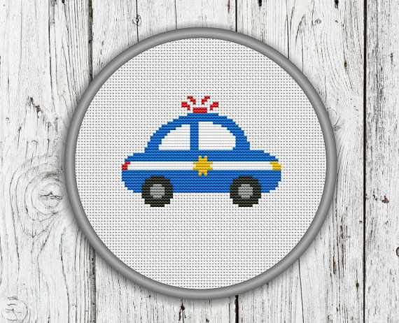 Police Car Counted Cross Stitch Pattern by CrossStitchShop on Etsy