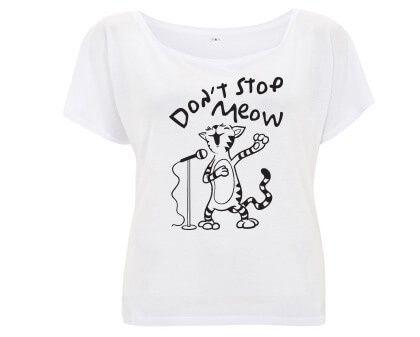 Don't Stop Meow Kat - Tencel T-shirt Wit
