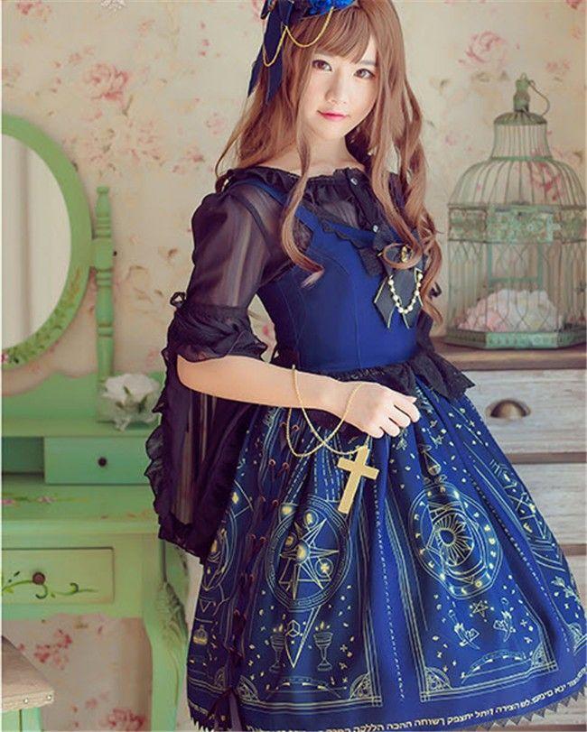 April Ann~ Lolita Gold-stamping JSK Dress - Pre-order