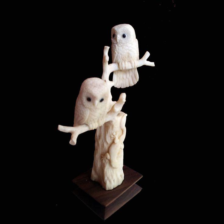 Hand Carved Owl Statue Natural Buffalo Bone Sculpture Home Decoration #2 #Handmade #Contemporary