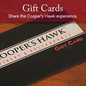 Cooper's Hawk Winery & Restaurants - gift cards, food items, Celebration cookbook