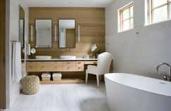 Love the idea of the vanity/chair area built in, would work in center of our current vanity with skinnier chair.