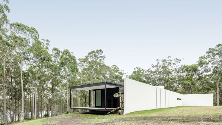 Modern architecture, glass box, bush setting. By Collins Caddaye Architects photographed by Stefan Postles, Chalk Studio.