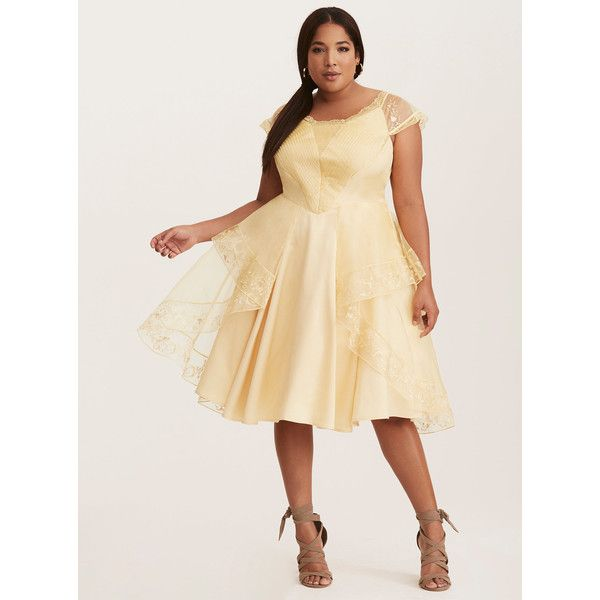 Torrid Disney Beauty and the Beast Belle Halloween Ball Gown ($82) ❤ liked on Polyvore featuring costumes, plus size halloween costumes, belle halloween costume, womens plus costumes, plus size costumes and women's plus size halloween costumes