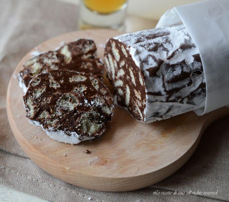 salame cioccolato,salame con pavesini,salame nutella e pavesini